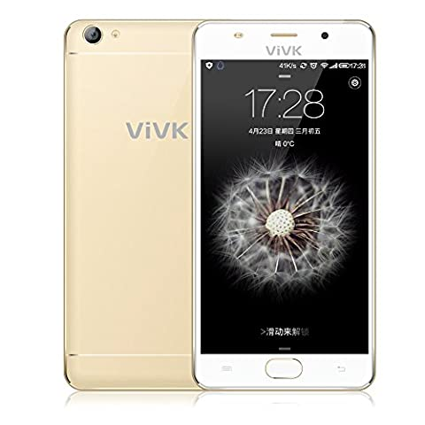 Smartphone 3g ohne Vertrag, ViVK F1 5,5'' Zoll Android 6.0 Handy simlockfrei (Dual-SIM, Quad-Core, HD IPS 1280 * 720 Touchscreen, 8GB ROM, 8MP/2MP Dual Kameras mit Dual Flash LED, OTG, Intelligente Geste, GPS, WiFi) Golden