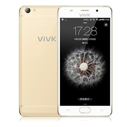 Smartphone 3G débloqué, ViVK F1 5.5 Pouces Android6.0 Téléphone Portable (Dual SIM, Quad Core 8Go ROM, IPS 1280 * 720 HD Écran, 8MP / 2MP Dual Caméras avec Dual Flash LED, Geste Intelligent, OTG, GPS, WIFI) Or