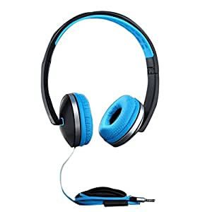 PTron Rebel Stereo Wired Headphone with Mic (Black/Blue)