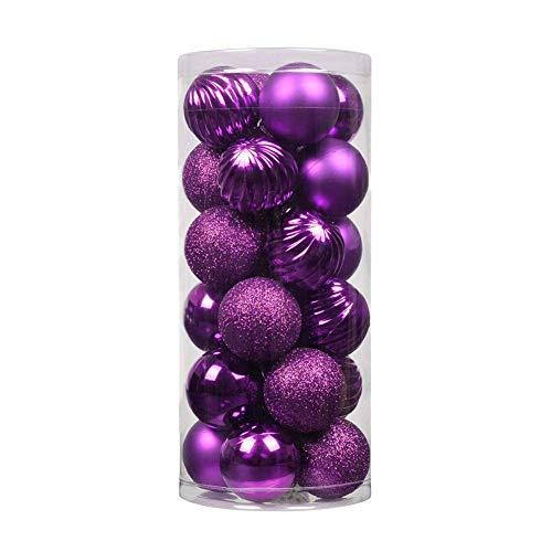 Naisicatar 24ct Christmas Ball Ornamente Shatterproof Weihnachtsdekorationen Baumkugeln Kleine für Urlaub Hochzeit Dekoration, Baumschmuck Haken inklusive 1,57 (40mm Purple) Weihnachten Stil (Ornament Haken Christmas)