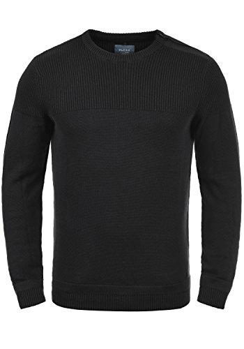 Blend Franklin Herren Strickpullover Feinstrick Pullover Mit Rundhals Und Schulter-Reißverschluss Aus 100% Baumwolle, Größe:XL, Farbe:Black (70155)