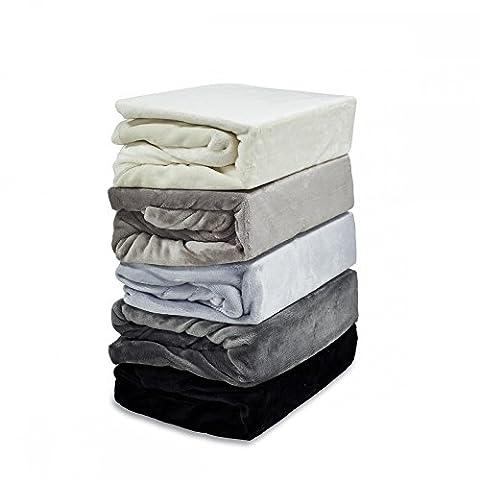 Luxus Cashmere-Touch Spannbettlaken Spannbetttuch Laken 180x200 - 200x200 Winter Plüsch Nicky-Teddy coral fleece, Designe:GRAU