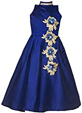 swagat saree Baby Girls Birthday Party wear Frock Dress_ New Blue Flower Gown_6-12 Years