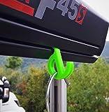 Set HAKEN Öse für MARKISEN Fiamma, Omnistor, Thule, Dometic mit Kederschiene für Wohnmobil, Caravan, Camping (Öse mit Haken klein für Kederschiene 7mm, Neon Grün, 4)