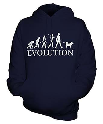 Alaskan Klee Kai Evolution of Man - Unisex Hoodie - Mens/Womens/Ladies, Size X-Small, Colour Blueberry Bean