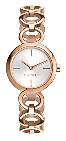 Esprit Arya Women's Quartz Watch with Silver Dial Analogue Display and Rose Gold Stainless Steel Bracelet