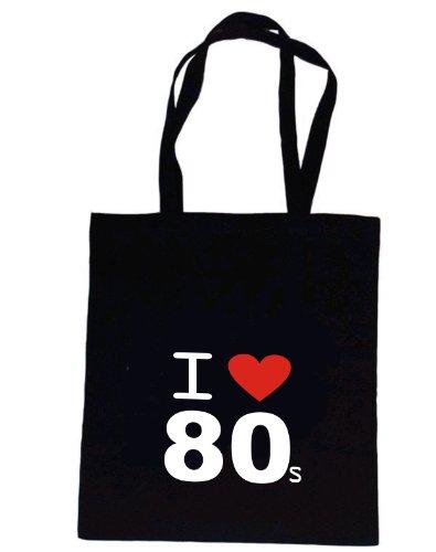I Love 80's Black Tote Bag from Rhino and Mugsy
