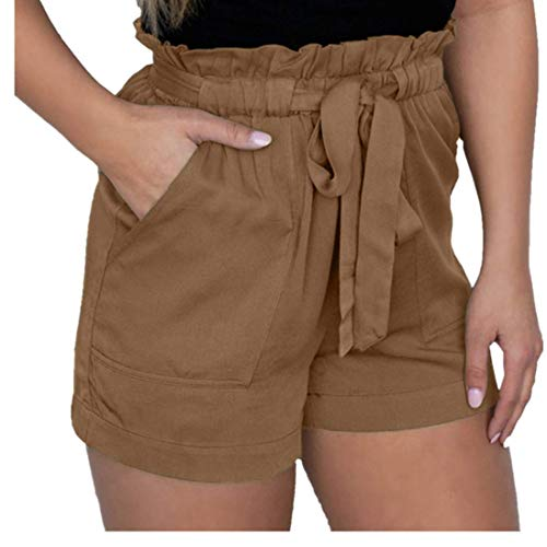 Yvelands Damen hohe Taille Short Sexy Crepe Woven Tie Pants Sommer Casual Shorts
