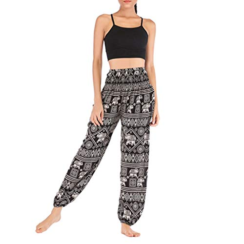 QIYUN.Z Mujeres Elefante Floral Cintura elástica Harem Yoga Pilates Pantalones Negro