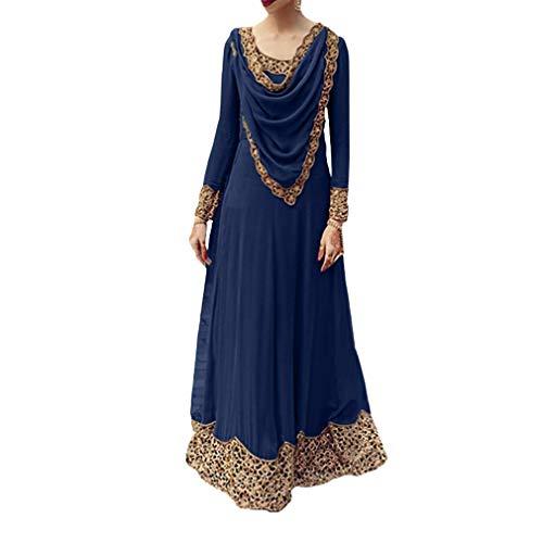 Saudi Kostüm Arabien Frauen - Mxssi Muslimische Kleid Damen Saudi-Arabien Dubai Kaftan Langarm Rundhals Maxi Kleid Elegant Ethnisch Abendkleid Ramadan Kleider Gebet Kleid
