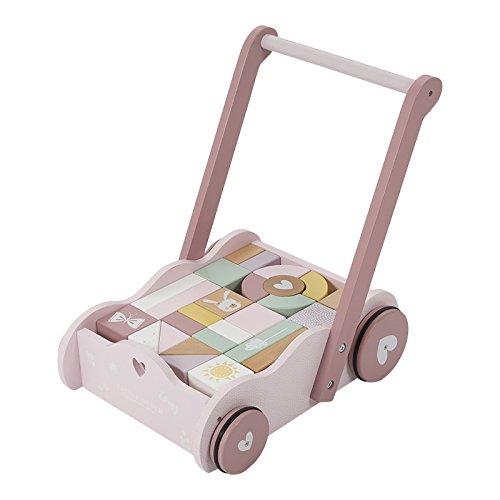 Best For Kids Lauflernwagen mit Baukl/ötzen Bau Wagen Holzschiebwagen Lauflernhilfe