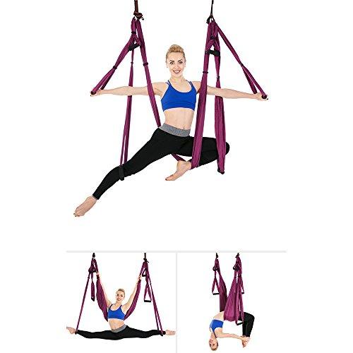 Amaca antigravità per yoga decompressione d'aria terapia d'inversione swinging yoga invertito amaca larghezza 2,8 metri nessuna cucitura con accessori chiusura corda di crisantemo,purple
