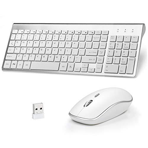 Qooker Tastatur und Maus Set, Kabellose Ultradünne Tastatur-Maus-Combo, Kabellose Tastatur mit Mute Maus, 10m Anschlussdistanz, 3 stufige DPI Funkmaus, mit USB Empfänger für PC, Laptop, Windows