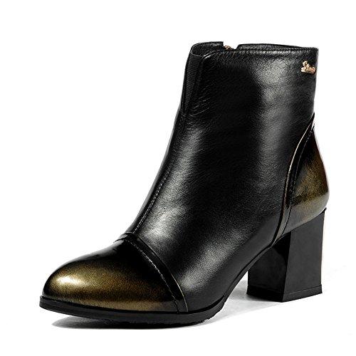 grezzo in autunno e inverno stivali con/Vintage Martin stivali in Inghilterra/Testa tonda tacco alto stivaletti/ pelle stivali nudo-B Lunghezza piede=23.3CM(9.2Inch)
