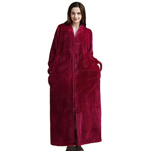YMYJZ Bademantel Zip Nachthemd, Mens Womans Robes Nachthemd Flanell Nachtwäsche Nachtwäsche Langarm Kimono Pyjamas Weich, Nachthemd Pyjama One-Piece,Rose,M - Rose Flanell-pyjama