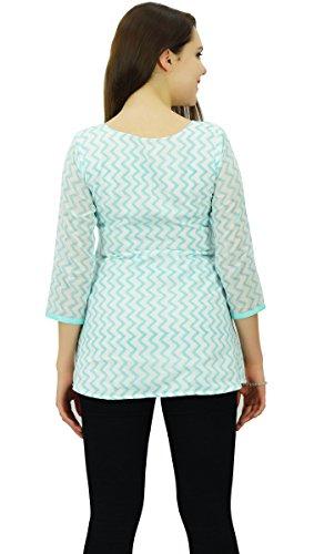 Phagun Chevron Imprimer Femmes Porter À Manches 3/4 Casual Courtes En Coton Kurti Vêtements Blanc et Aqua Blue