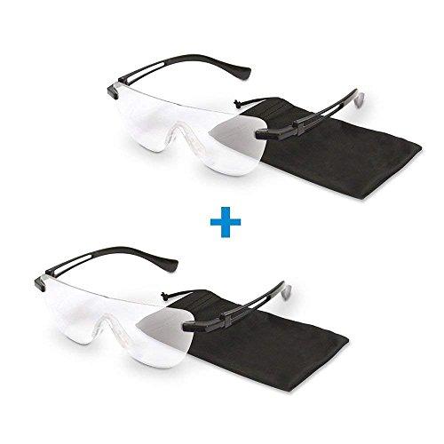 Lupenbrille 2 Stk,Vergrößerungsgläser mit Lupeneffekt inkl. Hülle | Schutzgläser Schutzbrille Arbeitsbrille | auch für Brillenträger geeignet