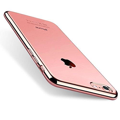 iPhone 8 Hülle Silikon, iPhone 7 Handyhülle, Orlegol Ultra Dünn Silikon Schutzhülle iPhone 8 Cover iPhone 7 Hülle TPU Bumper Case Soft Schlank Kratzfest Hülle für iPhone 7/ iPhone 8 - Rose Gold
