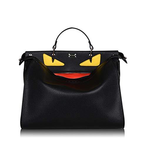 Echtes Leder Herren Aktentasche Tote Bag Schulter Diagonal Große Tasche Weibliche Erste Schicht Ledertasche (Black, small)