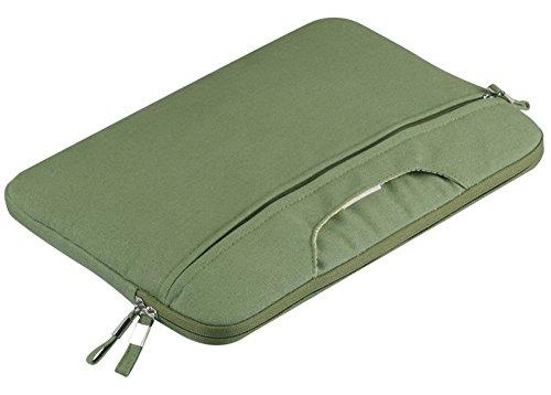 YiJee Tela Custodia Borsa Ventiquattrore Cartella Involucro Sleeve Case per Computer Portatile / Macbook Pro Air da 11-15 Pollici 12 Inch Army Verde