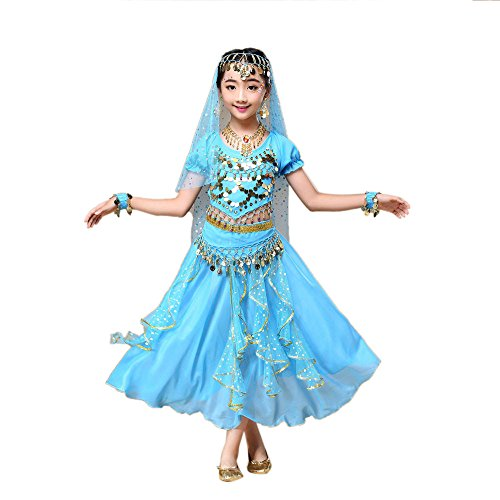 Lazzboy Kostüm Rock Kindermädchen Bauchtanz Outfit Indien Tanzkleidung Top + Rock(S,Himmelblau)