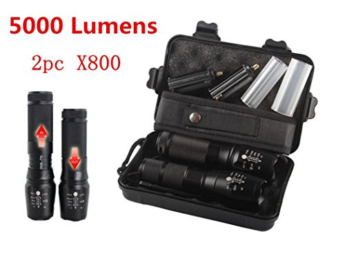 2 Stück LED Taschenlampe 5000 Lumens, 5 Modi XM-L T6 LED Taktisch Taschenlampe By huichang