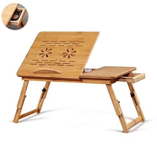 cj-CJ Bambus-Laptop-Schreibtisch mit Ventilator,Verstellbares Bett Tisch Tragbare Bett tablett Faltbare Laptop Notebook pc Tisch Computer Schreibtisch-C 50x34x25cm(20x13x10) -