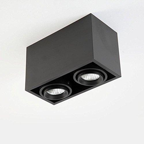 Moderne Elegant LED Deckenleuchte Deckenstrahler Deckenspot Spotleuchten LED Strahler Leuchten LED-Spots 2×5W GU10 Downlight,Square Design Schwarz Eisen Lampenschirm, Drehbar Einstellbar Spot