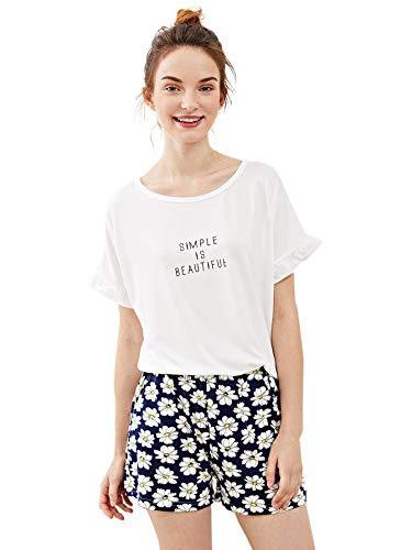 ster Top und Short Zweiteilig Sleepwear Pyjama Set Muster 14 M ()