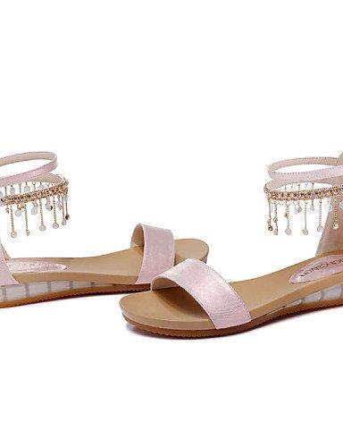 UWSZZ IL Sandali eleganti comfort Scarpe Donna-Sandali-Ufficio e lavoro / Formale / Casual-Spuntate / Comoda-Piatto-Finta pelle-Rosa / Bianco Pink
