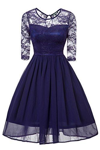 Gigileer Vintage Damen Swing Kleid Knielang 3/4 Ärmel Swing aus Spitze und Chiffon Navy XXXL (Cocktail-kleid Chiffon Vintage)