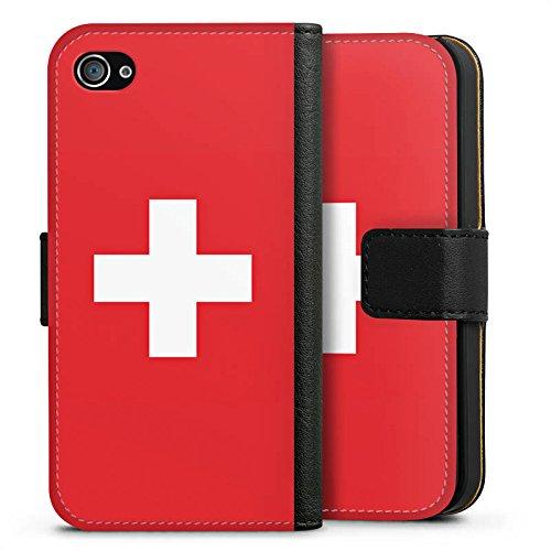 Apple iPhone 6 Silikon Hülle Case Schutzhülle Schweiz Flagge Switzerland Sideflip Tasche schwarz