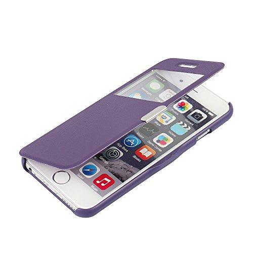 iPhone 5s Hülle, iPhone 5 Hülle, iPhone SE Hülle, MTRONX Case Cover Schutzhülle Tasche Etui Klapphülle Fenster-Ansicht Magnetisch Twill PU Leder Dünn Folio Flip für Apple iPhone SE iPhone 5s iPhone 5  Lila