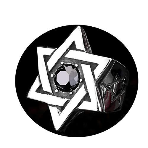 (Bishilin Schmuck Titan Herren Ring Punk Pentagram Stern Schwarz Zirkonia Männer Ring Schwarz Partnerringe Größe 70 (22.3))