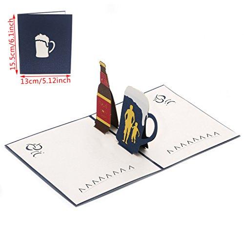 JAGENIE Vatertagskarte, Muttertagskarte, 3D Pop-up-Karte, 3D-Grußkarte, Dank-Karte, Geburtstagskarte, Geburtstagskarte, Valentinstag Geschenkkarte,Bier 13x15CM