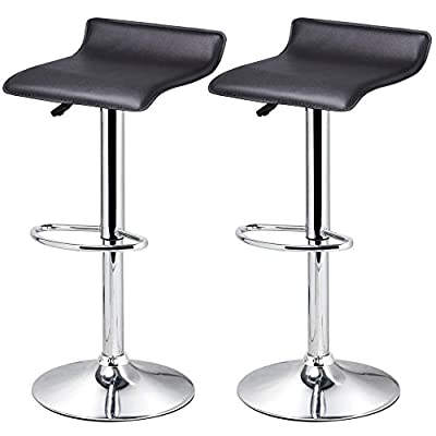tinkertonk Set of 2 Black Faux Leather Kitchen Breakfast Bar Stools Swivel Stool Gas Lift Chairs - inexpensive UK light shop.