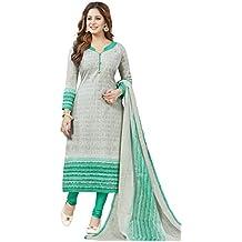 Ishin Cotton Green & Grey Printed Party Wear Casual daily Wear Festive Wear Unstitched Salwar Suit Dress Material (Anarkali/Patiyala) With Dupatta