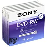 Sony DVD-RW 8cm 2.8Go 60min Pack 5 DVD mini disque pour cam?scope