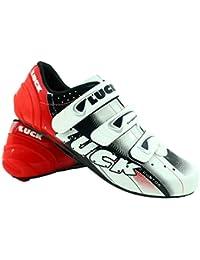 LUCK Zapatillas de Ciclismo EVO, para Carretera, con Suela de Carbono,Muy rigida y Ligera y Triple Tira de Velcro.(38 EU)