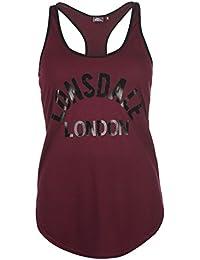 Lonsdale Damen Logo Tank Top Ärmellos Rundhals Shirt Metallic Print Freizeit