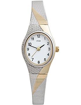 JOBO Damen-Armbanduhr oval Quarz Analog Edelstahl teilvergoldet Mineralglas