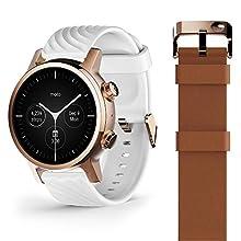 Motorola Moto 360 3a Generazione Smartwatch – Cassa in Acciaio Inox con Cinturino da 20 mm, Batteria per tutto il giorno & WearOs, Rose Gold