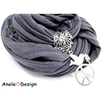 Écharpe foulard bijou gris, Oiseau peace and love