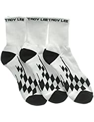 3 pares de calcetines Troy Lee Designs Crew Checker Blanco