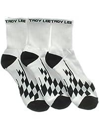 Lot de trois paires de chaussettes Troy Lee Designs Crew Checker Blanc