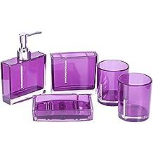 Gosear 5 piezas Acrílico Rhinestone Botella de Dispensador de Jabón Líquido Prensa Plato de Jabón Cepillo de Dientes y Taza de Colada Accesorios Set para Baño,Morado