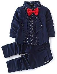 Si Noir by Hopscotch Navy Blazer Style Shirt and Pant Set