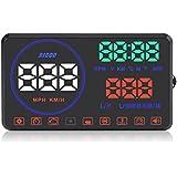 """Qiilu 5.5"""" Voiture HUD Universel Interface Afficheur Tête Haute KM/h et MPH Vitesse, OBD2 Projecteur Head up Display Alerte Rpm Tension d'alarme(M9)"""
