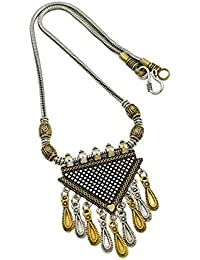 High Trendz Oxidised Gold Silver Dual Tone German Silver Gypsy Style Statement Pendant Necklace Jewellery For... - B0773NKB9D