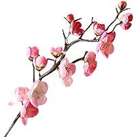 plum blossom flores seda artificial Sannysis ramos de flores artificiales decoración jarrones exterior altas flores secas para tocados decoracion, ramo de novia, boda, fiesta, casa (Rosa)